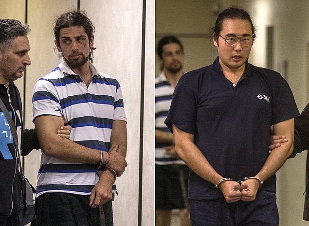 Rafael Marques Lusvargh e Fabio Hideki Harano, presos por se manifestarem a favor de causas populares (fonte: Avener Prado/Folhapress).